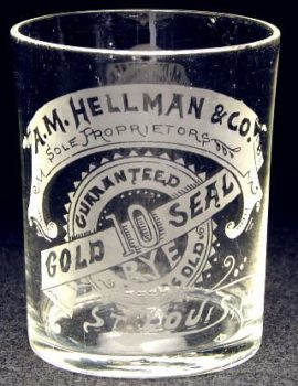 Gold Seal Rye Shot Glass. Hellman & Co St Louis, MO