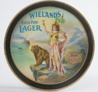 WIELAND'S EXTRA PALE LAGER BREWERY SERVING TRAY, SAN FRANCISCO, CA.  Ca. 1910