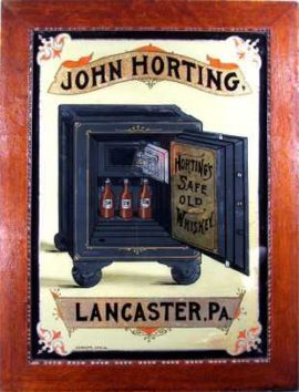 John Horting Safe Old Whiskey Sign, Lancaster, PA. Circa 1900