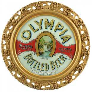 Olympia Bottled Beer, Reverse on Glass Sign, Olympia, WA. Circa 1900