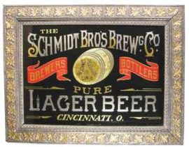 Schmidt Bros Brewing Co Lager Beer ROG Sign, Cincinnati, OH. Ca. 1900