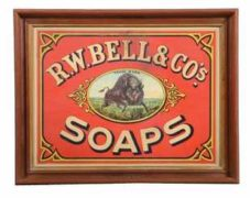 R.W. BELLS & CO., SOAPS TIN SIGN, BUFFALO, N.Y. Circa 1905