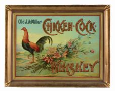 J. A. MILLER CHICKEN COCK WHISKEY, SELF-FRAMED TIN SIGN, PARIS, KY. Ca. 1900