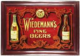 WIEDEMANN'S BREWERY REVERSE ON GLASS SIGN, CINCINNATI, OH.  Ca. 1910