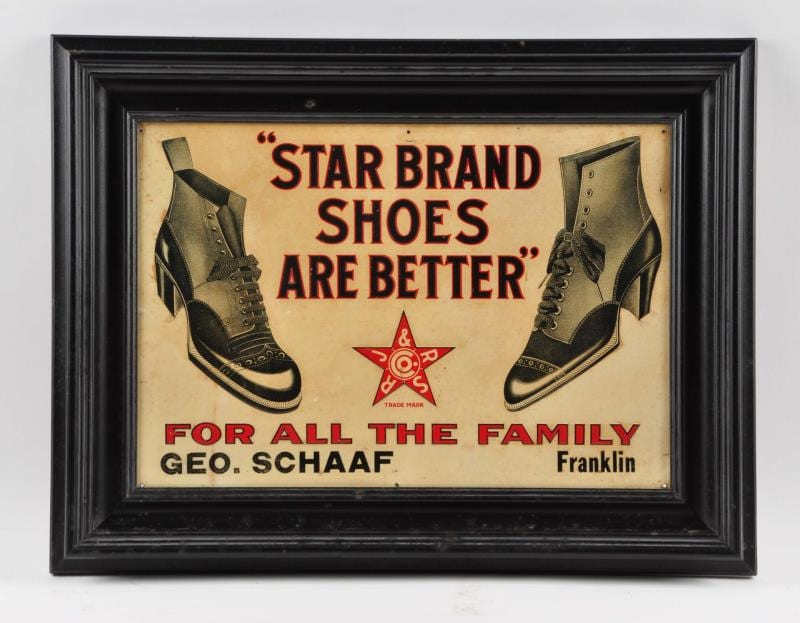 Star Brand Shoes Tin Sign, Roberts Johnson & Rand Co., St. Louis, MO. Ca. 1920