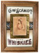G. W. SCHMIDT COMPANY, PITTSBURGH, PA. FINE WHISKEY LITHOGRAPH SIGN. Ca. 1900