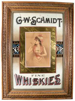 G. W. Schmidt, Fine Whiskies Sign, Pittsburgh, PA. Ca. 1900