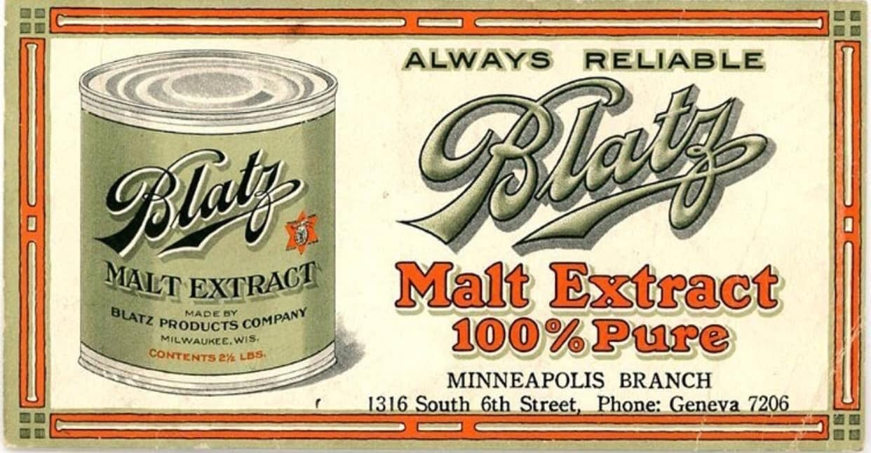 Blatz Malt Extract Beverage, Milwaukee, WI. Circa 1920 Company, Prohibition Era Sign.