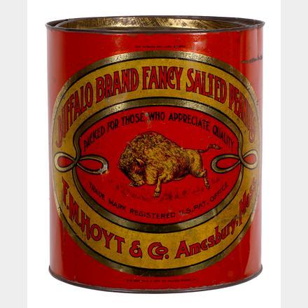 Buffalo Brand Salted Peanuts Tin, F.M. Hoyt & Co, Amesbury, MA. Circa 1920