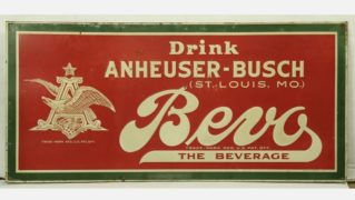 BEVO BEVERAGE TIN SIGN, ANHEUSER-BUSCH, ST. LOUIS, MO.  Circa 1920