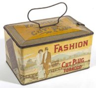 FASHION CUT PLUG TOBACCO LUNCH PAIL TIN, AMERICAN TOBACCO CO., CHICAGO, IL.  Ca. 1920