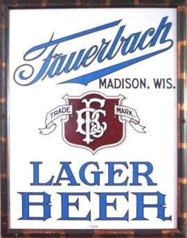 Fauerbach Brewery Vitrolite Corner Sign, Madison, WI. Ca. 1910
