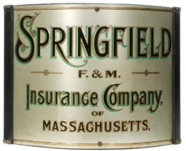 Springfield, MA F&M Insurance Co., Tin Corner Sign, Circa 1900