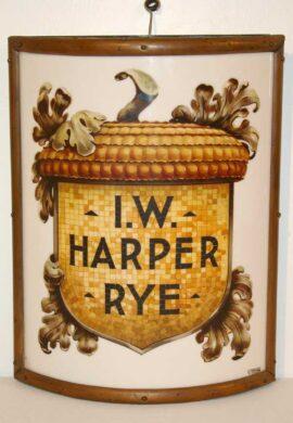 I.W. Harper Rye Vitrolite Corner Sign, Louisville, KY. Circa 1900