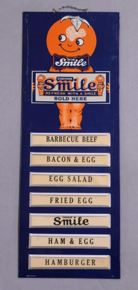 Smile Soda Tin Menu Board Sign, Circa. 1950