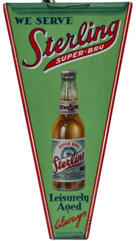 Sterling Super Bru Tin Pennant Beer Sign, Evansville, IN. Circa 1930's