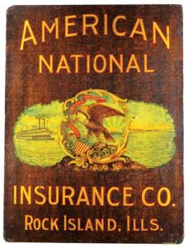 American National Insurance Co., Meyercord Wood Sign, Rock Island, IL. Circa 1910