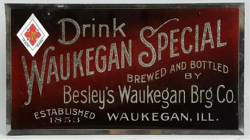 Waukegan Special ROG Brewery Beer Sign, Waukegan, IL. Ca. 1900